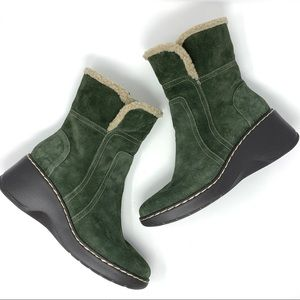 Aerosoles Green Suede Leather Side Kick Boots